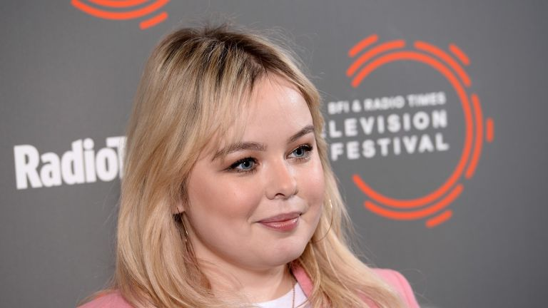 """LONDON, ENGLAND - APRIL 14: Nicola Coughlan attends the """"Derry Girls"""" photocall during the BFI & Radio Times Television Festival 2019 at BFI Southbank on April 14, 2019 in London, England. (Photo by Jeff Spicer/Getty Images)"""
