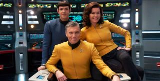 "CBS All Access has greenlit a new ""Star Trek"" spinoff series with Captain Pike (Anson Mount, center), Spock (Ethan Peck) and Number One (Rebecca Romijn)."