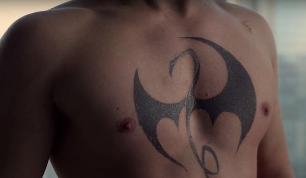 dragon chest tattoo on Iron Fist