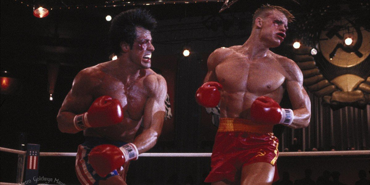 Sylvester Stallone and Dolph Lundgren in Rocky IV