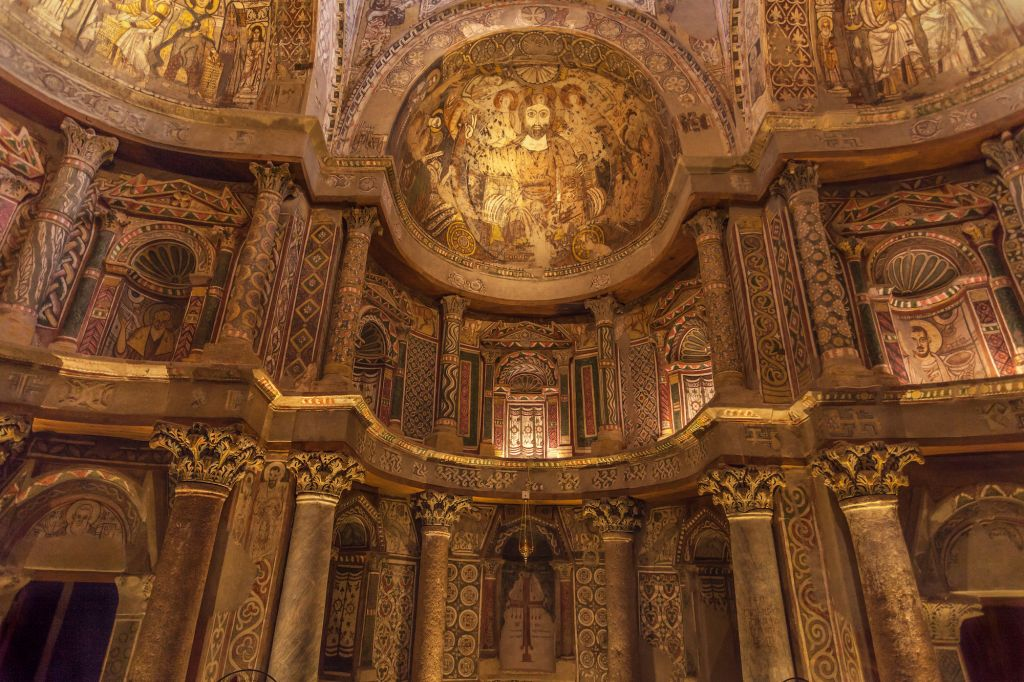 The richly decorated sanctuary in the Red Monastery at Sohag in Egypt.