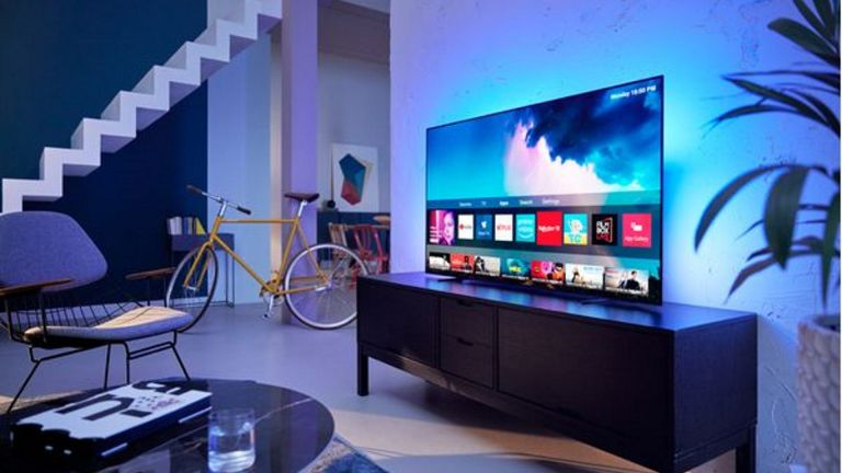 best tv: Philips 55OLED754 in living room