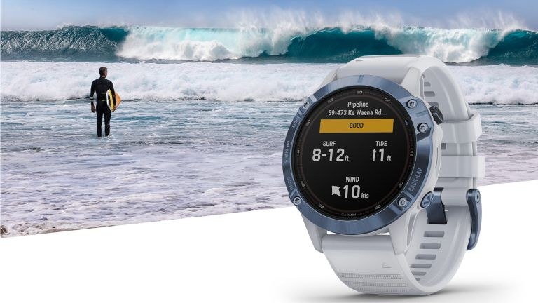Garmin watch showing new Surfline widget, with person surfing in the background
