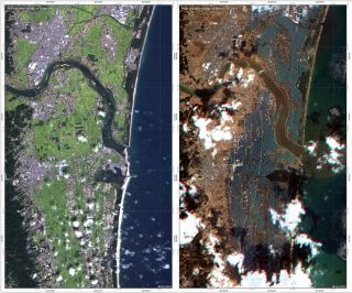 These images were acquired by the German Optical RapidEye and radar TerraSAR-X satellites. They show Torinoumi on the eastern coast of Japan before the disaster on Sept. 5 2010 and after the tsunami on March 12, 2011. The German Aerospace Center, DLR, is