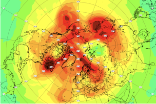 Ozone-rich air (red) floods the atmosphere over the North Pole on April 23, closing the single largest ozone hole ever detected in the Arctic.