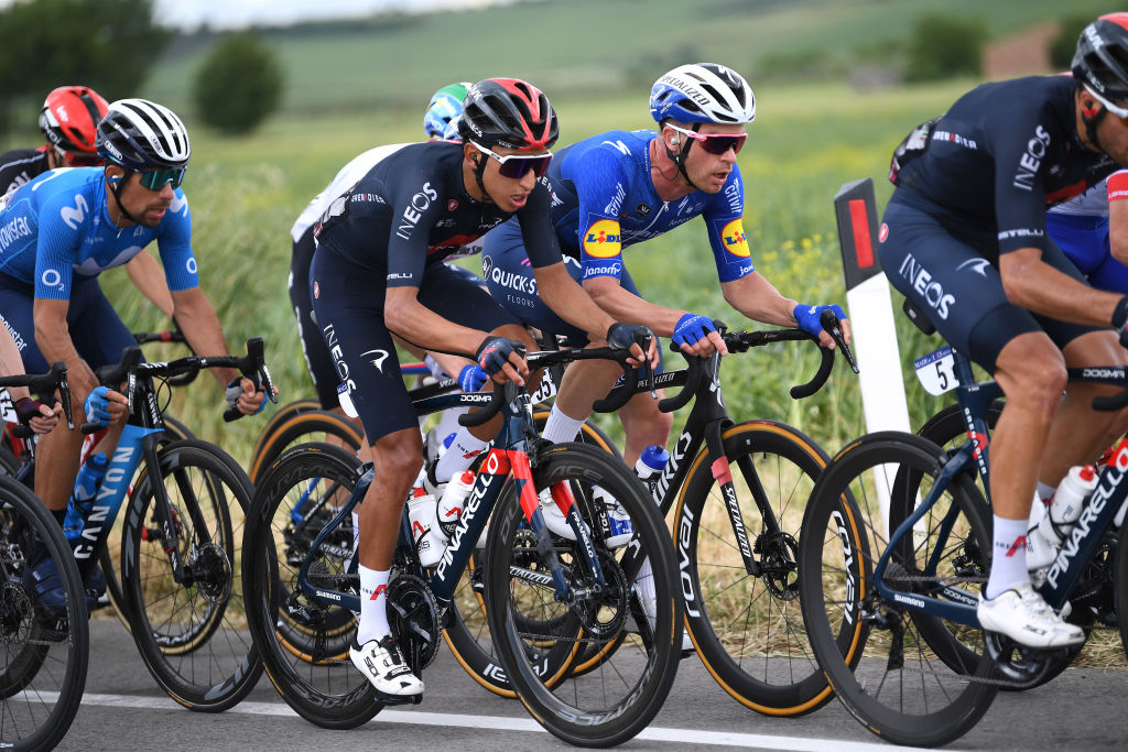 GUARDIA SANFRAMONDI ITALY MAY 15 Egan Arley Bernal Gomez of Colombia and Team INEOS Grenadiers Iljo Keisse of Belgium and Team Deceuninck QuickStep during the 104th Giro dItalia 2021 Stage 8 a 170km stage from Foggia to Guardia Sanframondi 455m girodiitalia Giro UCIworldtour on May 15 2021 in Guardia Sanframondi Italy Photo by Tim de WaeleGetty Images