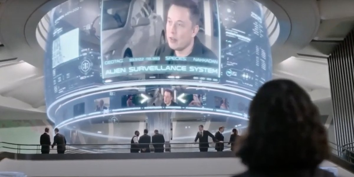 Elon Musk and Tessa Thompson in Men In Black: International
