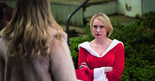 Maxine Miniver returns and bumps into Adam Donovan and Darcy Wilde in Hollyoaks.