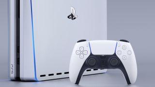 El mando Sony DualSense y un concepto PS5