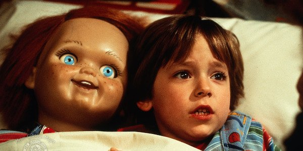 Alex Vincent as Andy with Chucky doll in 1988 Child's Play