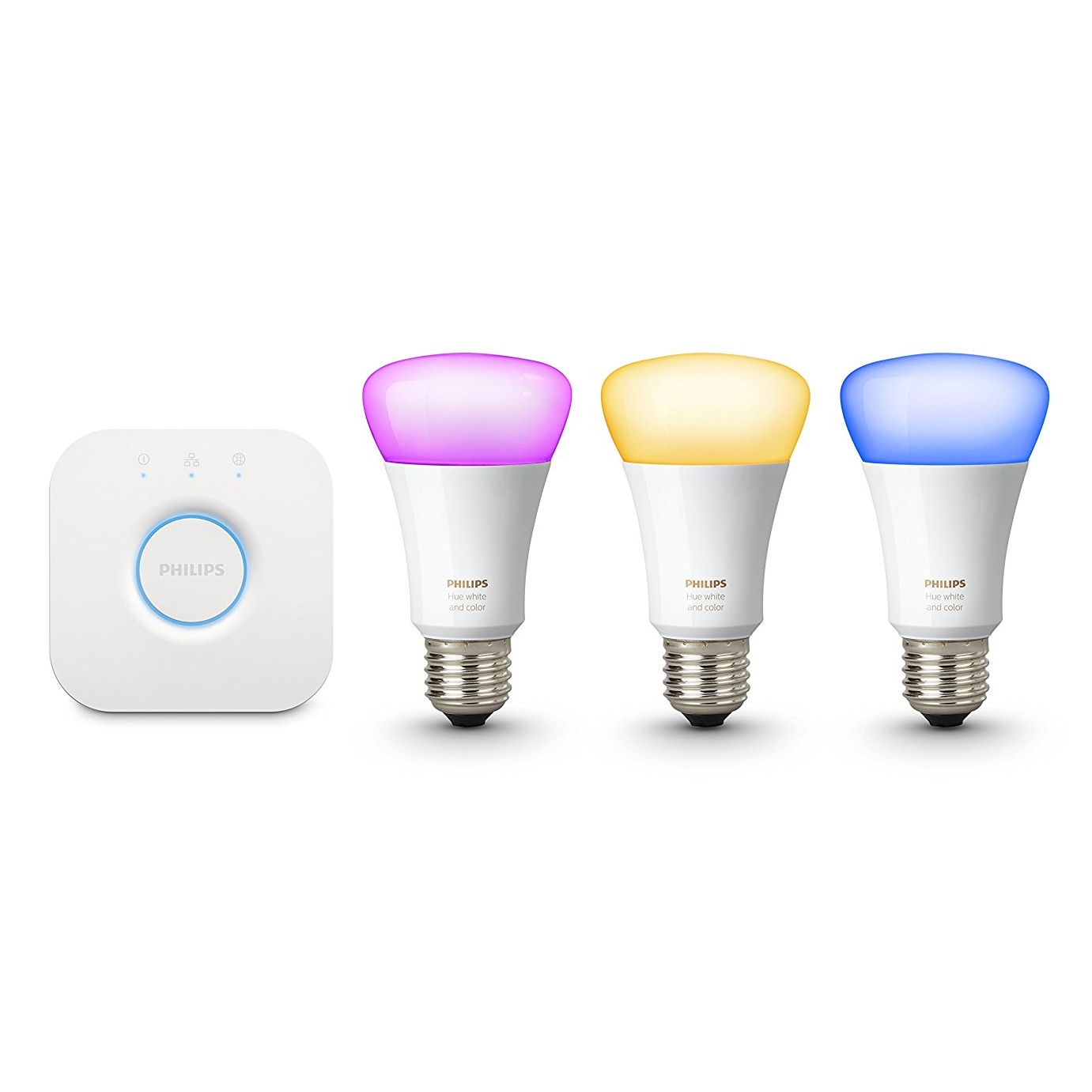 The standard starter kit comes with a bridge and three bulbs (Image Credit: Philips)