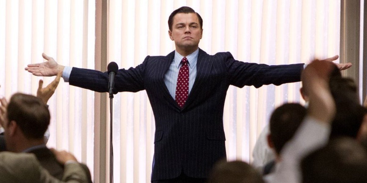Leonardo DiCaprio as Jordan Belfort in Wolf of Wall Street