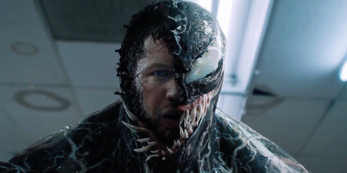 Tom Hardy's Eddie Brock enveloped by Venom