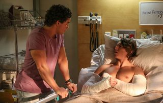 VJ Patterson wakes up in hospital with two broken arms, he asks Mason Morgan what happened in Home and Away?