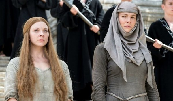 Game of Thrones Margaery Tyrell and Septa Unella look down at their off-screen victim