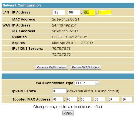 I change the IP Address of my router