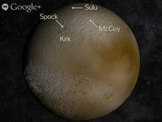 Hypothetical Pluto Craters with 'Star Trek' Names