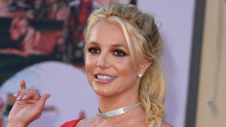 "US singer Britney Spears arrives for the premiere of Sony Pictures' ""Once Upon a Time... in Hollywood"" at the TCL Chinese Theatre in Hollywood, California on July 22, 2019. (Photo by VALERIE MACON / AFP) (Photo credit should read VALERIE MACON/AFP via Getty Images)"