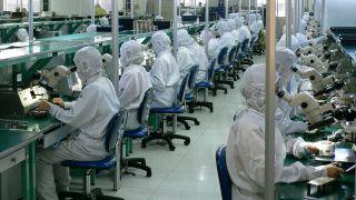 Una fábrica de teléfonos en China