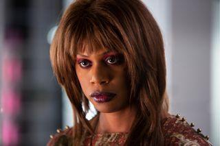 Laverne Cox plays Virgie in the Hulu Original, Bad Hair