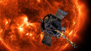 An artist's depiction of NASA's Parker Solar Probe gathering data about the sun.