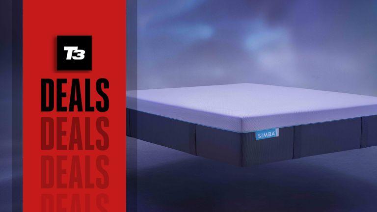 Simba mattress with deals flag overlaid