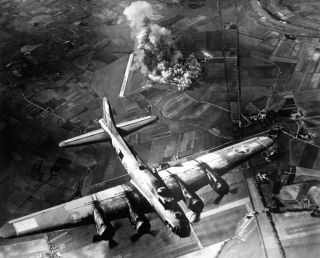 Bombing of a factory at Marienburg, Germany, on Oct. 9, 1943.