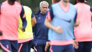 Tottenham Hotspur manager Jose Mourinho oversees training this week ahead of the Spurs' match against Everton.