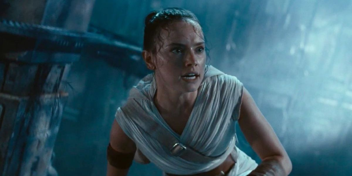 Rey (Daisy Ridley) crouches down inside the second Death Star in 'Star Wars: The Rise of Skywalker'