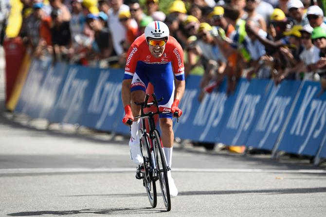 Tom Dumoulin (Giant-Alpecin) comes in with the fastest time in Sallanches