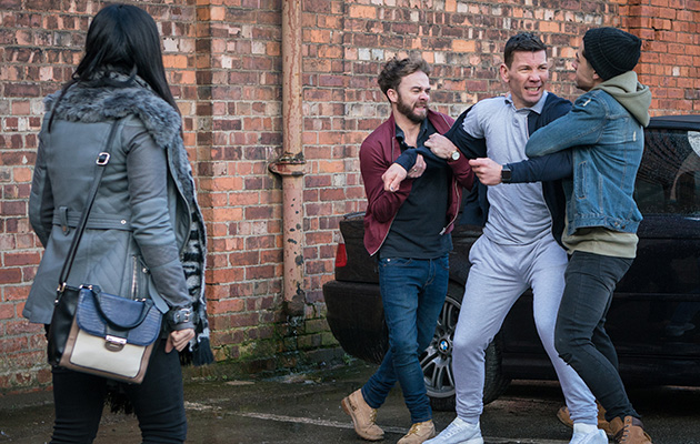 David and Josh come to Alya's rescue as they wrestle the owner of the car that was used in the garage attack