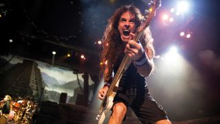 A photograph of Steve Harris on stage