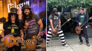 Jason Momoa spent the week jamming Primus tunes with Les Claypool and talking Gibson guitars with Slash