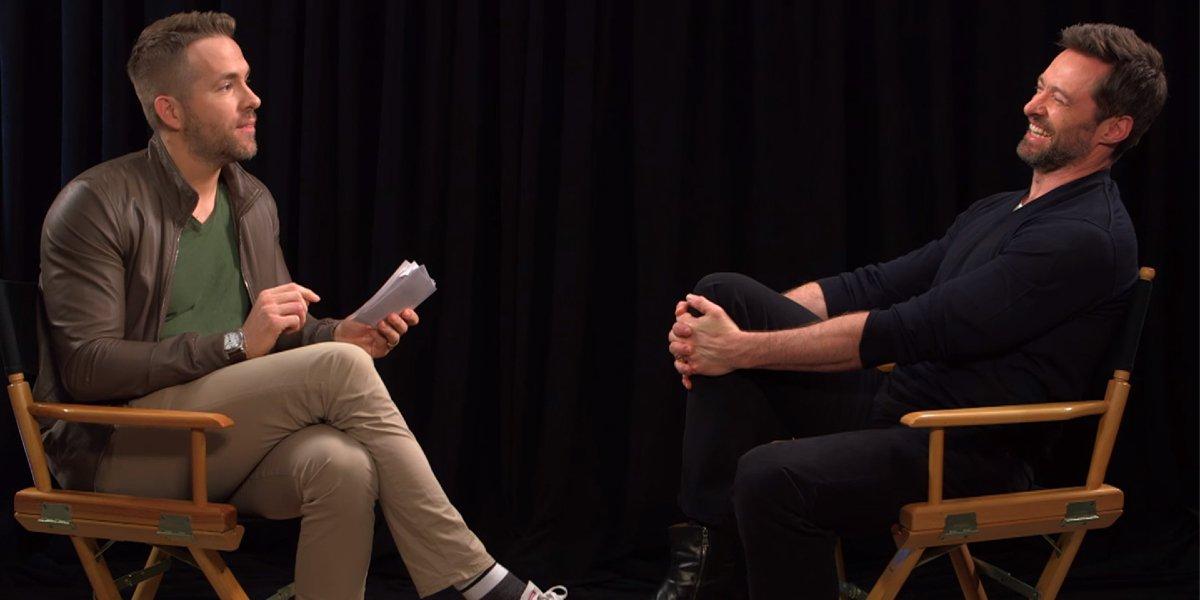 Ryan Reynolds interviewing Hugh Jackman