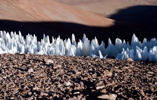 Penitentes ice formations at the southern end of the Chajnantor plain in Chile in 2005.