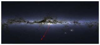 The Position and direction of the star S5-HVS1 in the night sky. The star shoots away from the center of our galaxy.