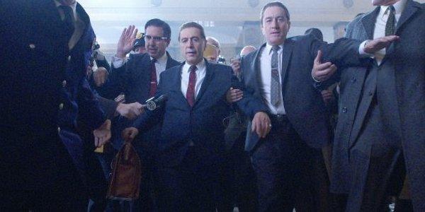 The Irishman Ray Romano Al Pacino and Robert De Niro make their way through a crowded courthouse