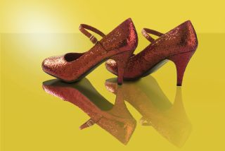 Dorothy Shoes on Yellow Brick Road Walking to the Emerald City of Oz