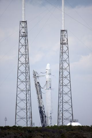 The SpaceX Falcon 9 rocket Standing on Launch Complex 40