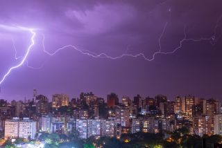 A megaflash crackles over Porto Alegre, Brazil.