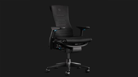 Herman Miller x Logitech G gaming chair from various angles on dark grey background