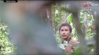 A likely uncontacted Amazonian tribesman seen in a recently released video.