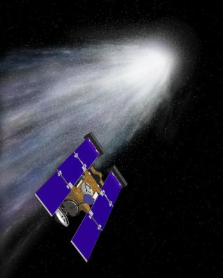 An artist's concept of the Stardust spacecraft beginning its flight through gas and dust around comet Wild 2.