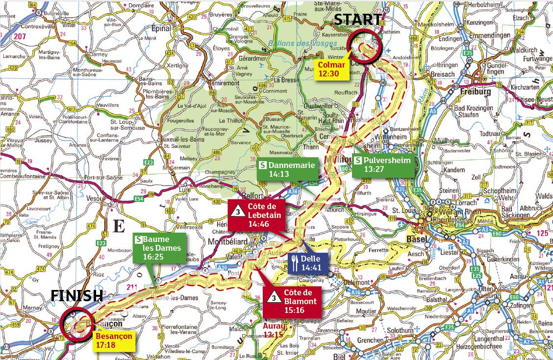 Tour de France 2009, stage 14 map