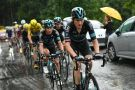 Team Sky control the peloton on stage 20