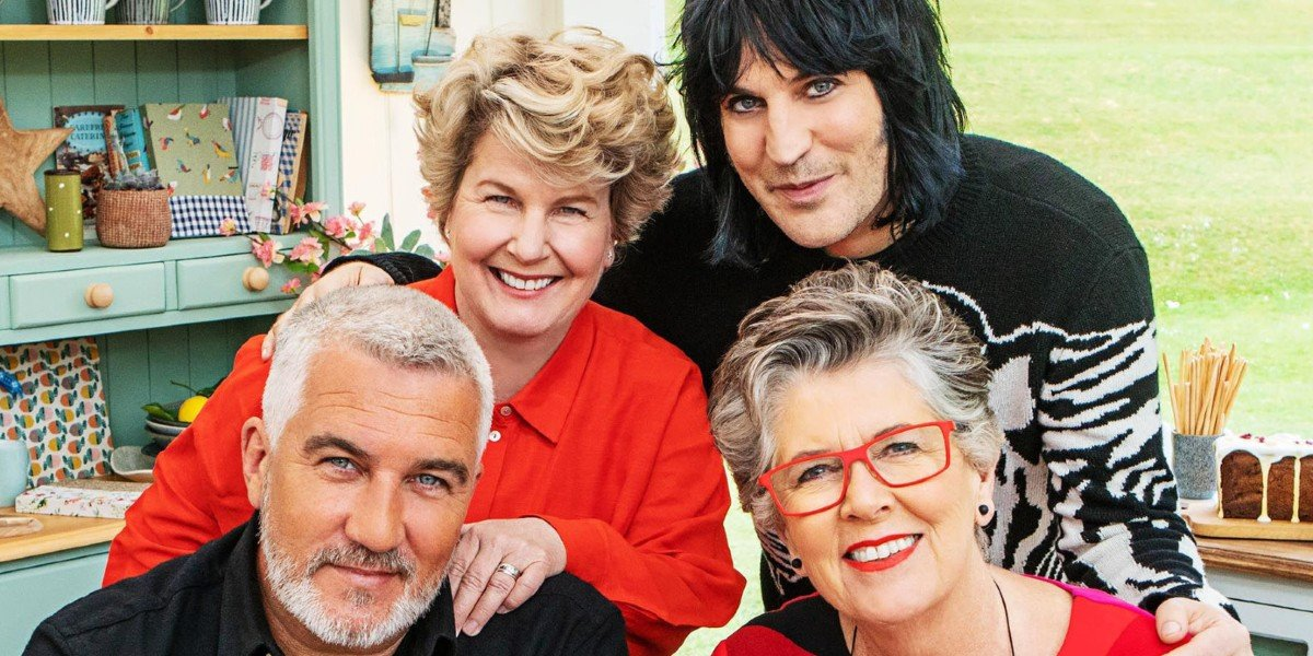 Prue Leith, Paul Hollywood, Noah Fielding, and Sandi Toksvig in The Great British Baking Show
