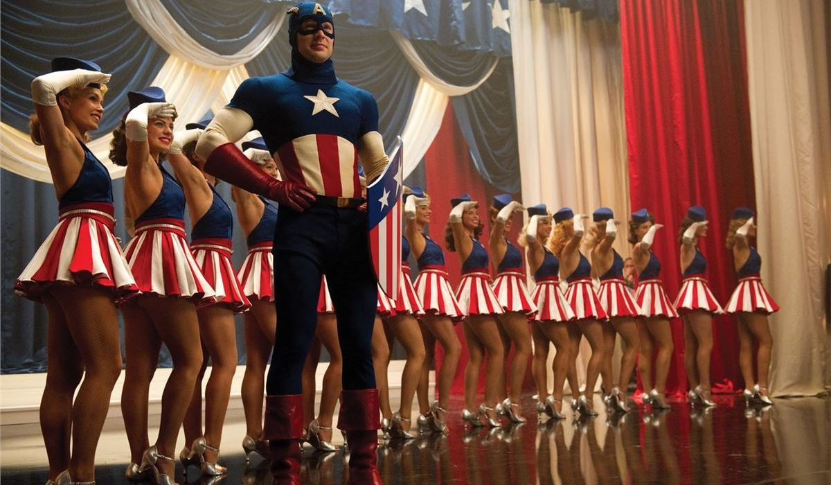 Captain America: The First Avenger Chris Evans on stage in the USO Costume