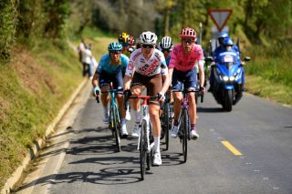 ARRATE EIBAR SPAIN APRIL 10 Ben Oconnor of Australia and Ag2R Citroen Team Hugh Carthy of United Kingdom and Team EF Education Nippo during the 60th ItzuliaVuelta Ciclista Pais Vasco 2021 Stage 6 a 1119km stage from Ondarroa to Arrate Eibar 535m itzulia Breakaway ehitzulia on April 10 2021 in Arrate Eibar Spain Photo by David RamosGetty Images