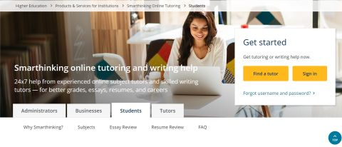 Smarthinking review: Image shows homepage