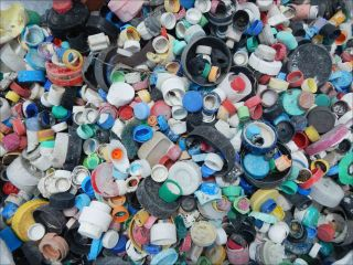 Bottle caps collected by an ocean cleanup mission